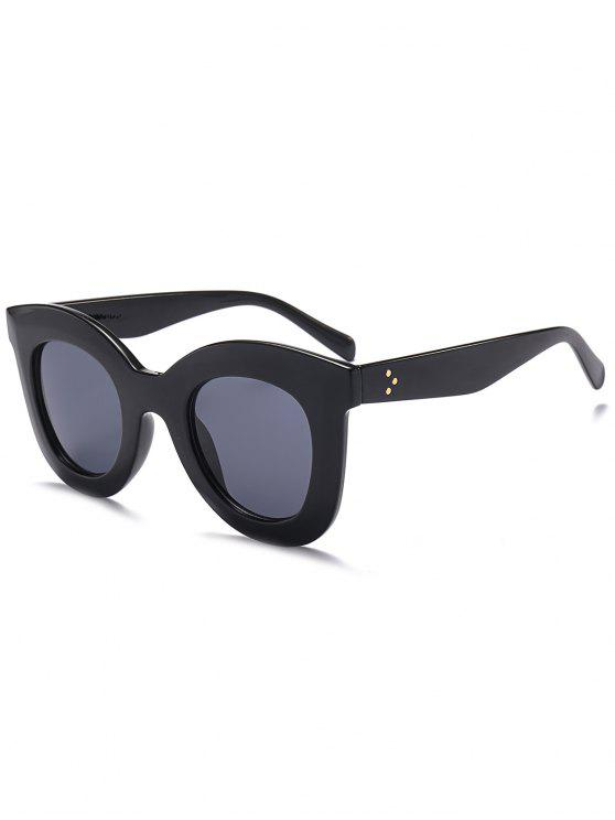 trendy Chunky Full Frame Plastic Sunglasses - BLACK