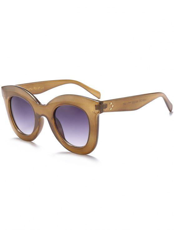 fashion Chunky Full Frame Plastic Sunglasses - EARTHY