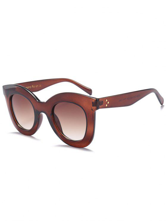 unique Chunky Full Frame Plastic Sunglasses - TEA-COLORED