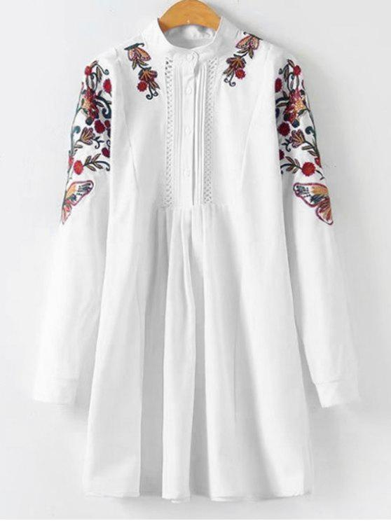 outfit Floral Patched Pleated Longline Blouse - WHITE M