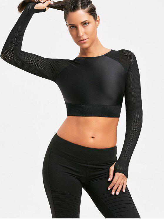 outfit Mesh Insert Long Sleeve Crop Tee shirt - BLACK S
