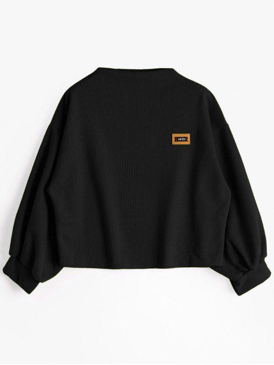Sweat-shirt à Badge Patché Manches Lanternes - Noir Taille Unique