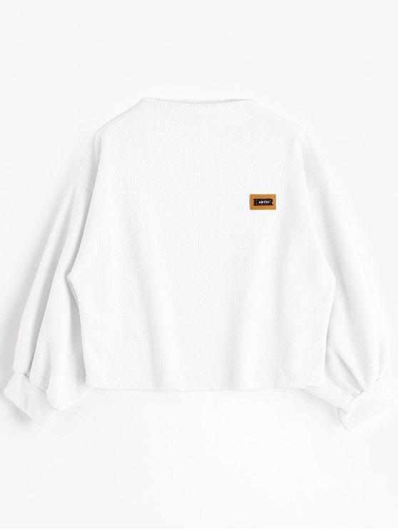 Sweat-shirt à Badge Patché Manches Lanternes - Blanc Taille Unique