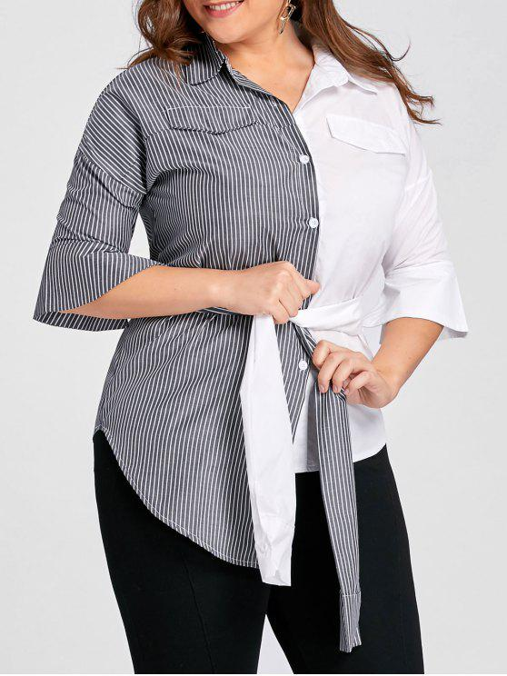 hot Plus Size Contrast Stripe Shirt with Belt - GREY AND WHITE 3XL