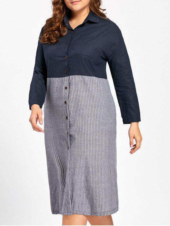 trendy Plus Size Button Up Longline Striped Shirt - BLUE 5XL
