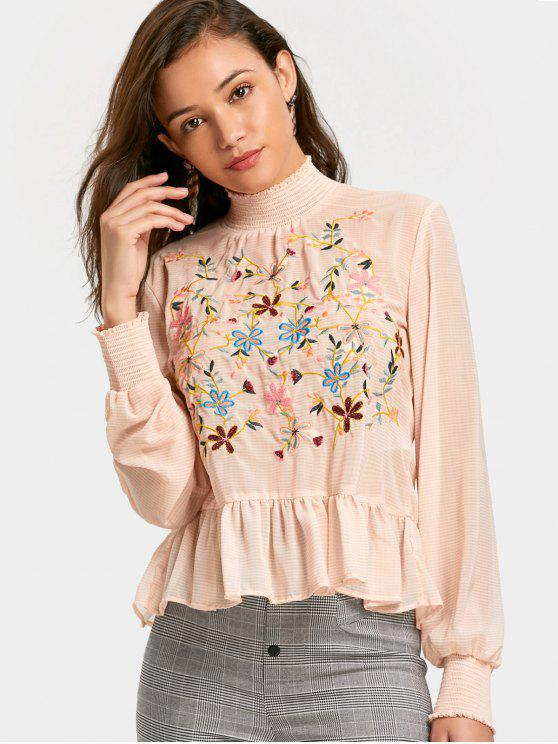 latest Bow Tied Embroidered Cut Out Blouse - PINK L