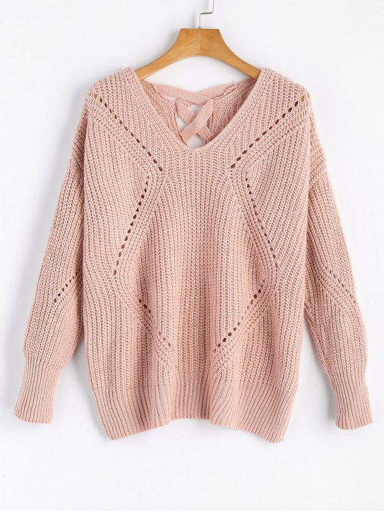 sale Sheer Criss Cross V Neck Sweater - PINK ONE SIZE