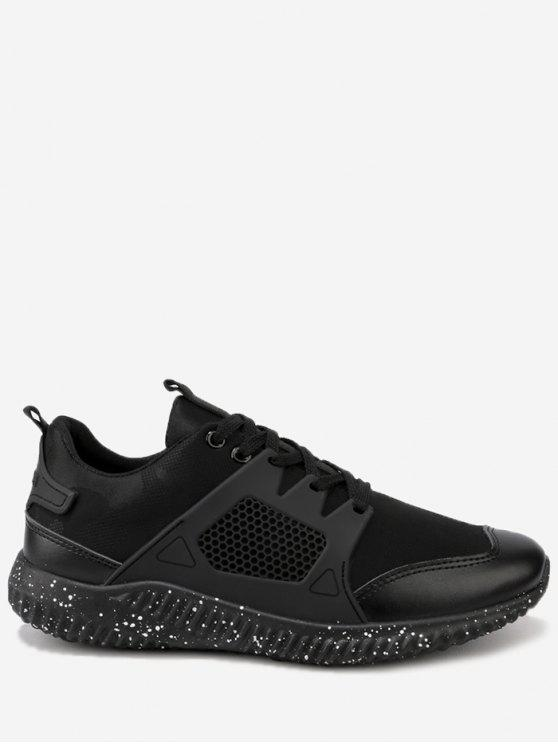 online Breathable Geometric Lace Up Sneakers - BLACK 44