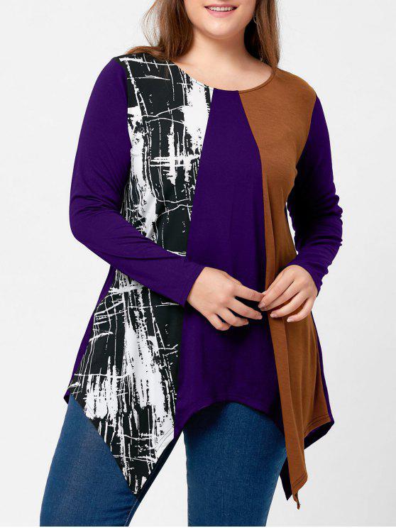 T-shirt Mouchoir Grande Taille Color Block - Pourpre XL
