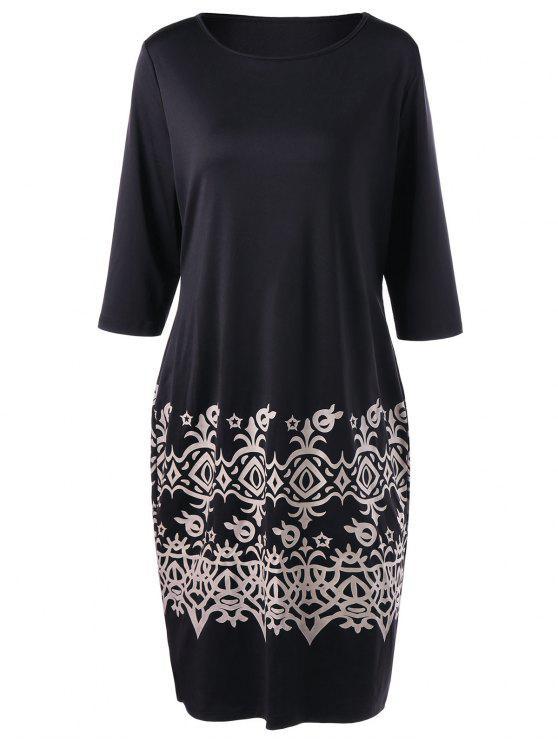 فستان بطبعة أزهار ذو مقاس كبير - أسود 4XL