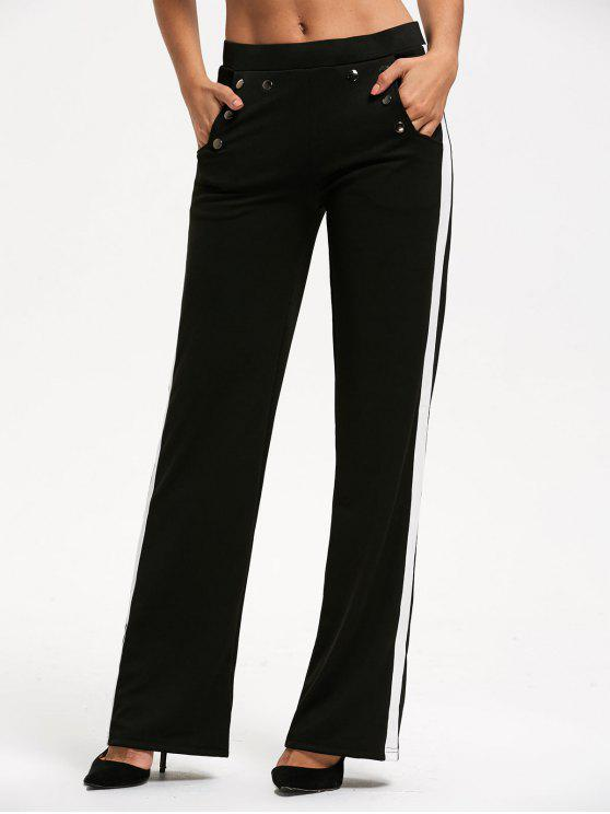 womens Casual Color Trim Straight Pants with Pocket - BLACK M