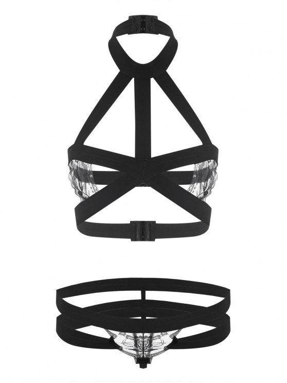latest Caged Strappy Bralette Set - BLACK ONE SIZE