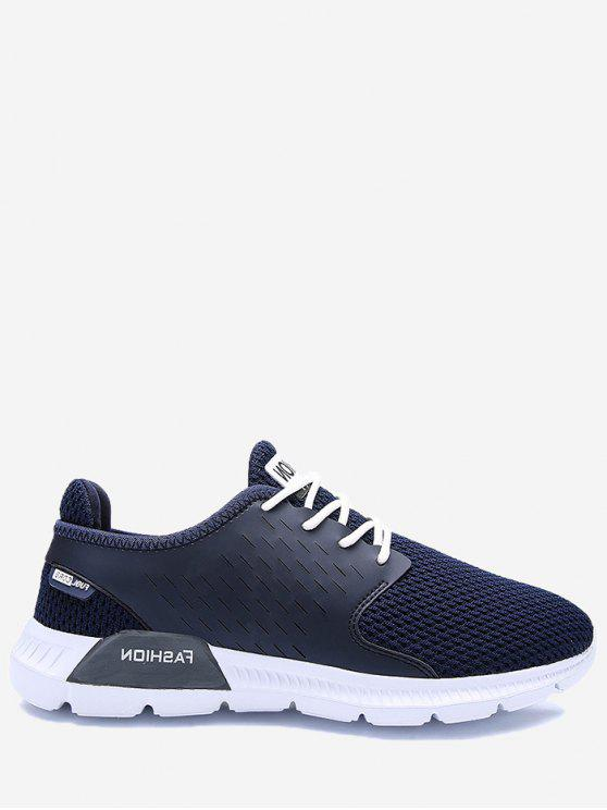 online Mesh Breathable Letter Sneakers - DEEP BLUE 46