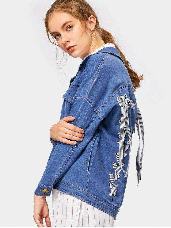latest Back Lace Up Pockets Denim Jacket - BLUE M