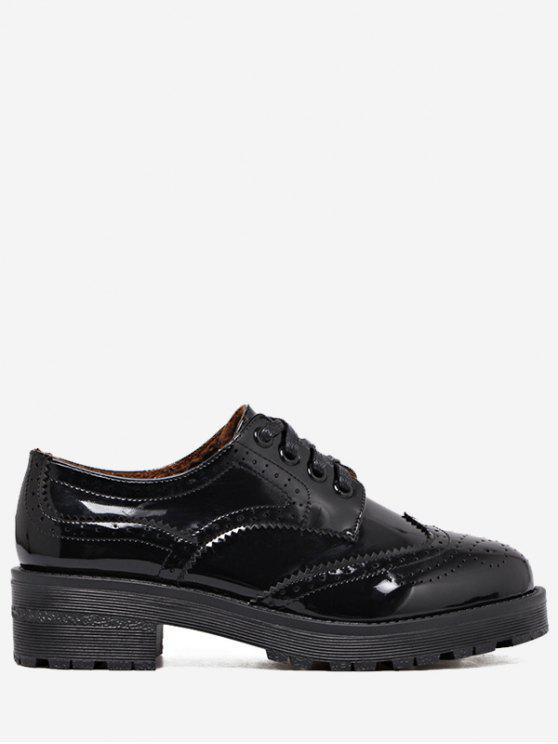 Wingtip Contraste Color Brogues Flat Shoes - Preto 36
