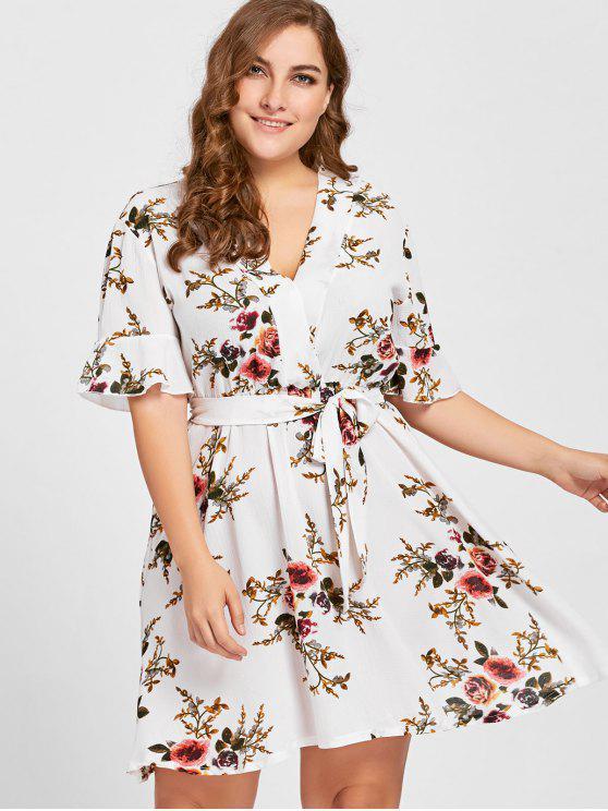 Vestido floral con cinturón de talla grande - Blanco 5XL