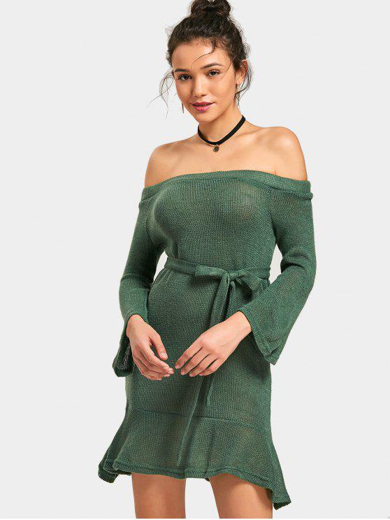 fancy Off Shoulder Mini Belted Knitted Dress - GREEN XL