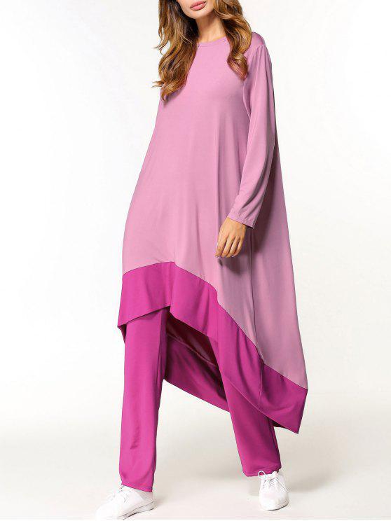 طقم فستان عالية انخفاض وبنطلون - زهري M