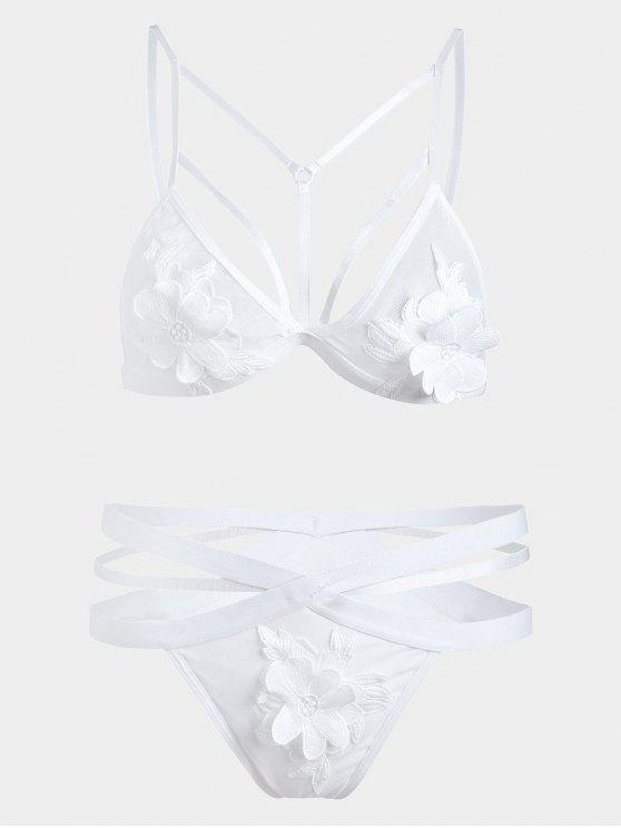 Ensemble Soutien-gorge et Culotte Applique en Tulle - Blanc S