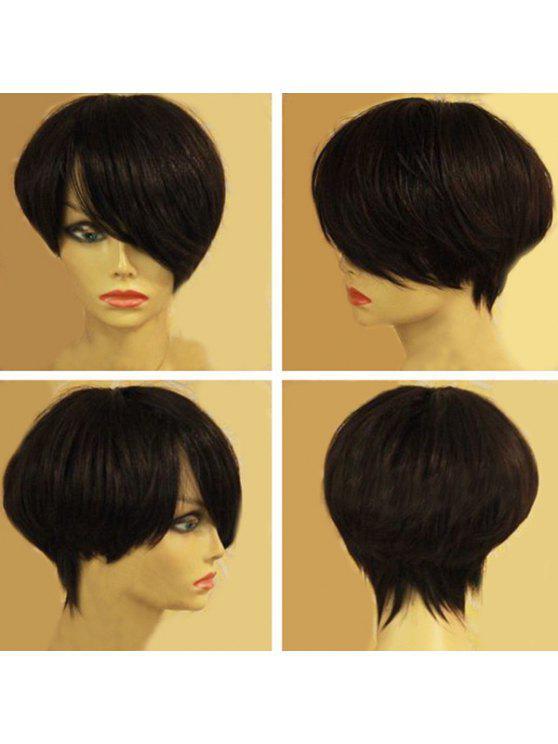 قصيرة عابث الجانب بانغ مستقيم شعر مستعار الاصطناعية - أسود