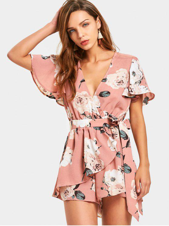 trendy Belted Layered Floral Romper - FLORAL S