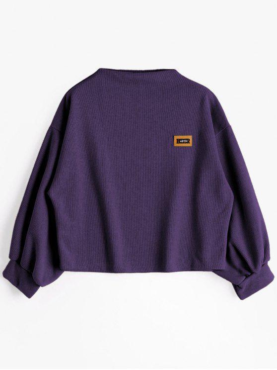 Sweat-shirt à Badge Patché Manches Lanternes - Violet Foncé Taille Unique