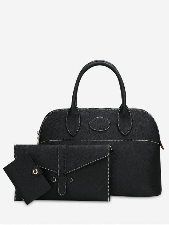 online Stitching 3 Pieces Faux Leather Handbag Set - BLACK