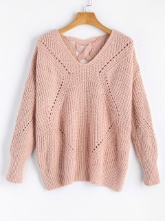 Sheer Criss Cross V Neck Sweater - Pink