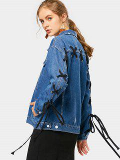 Back Lace Up Faux Pockets Denim Jacket - Deep Blue M