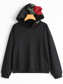 Drop Shoulder Flower Patched Hoodie - Black M