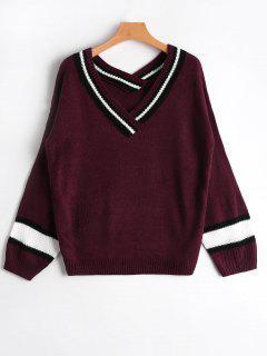 V Neck Neck Sweater - Rouge Vineux