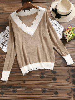 V Neck Contrast Knitted Top - Khaki