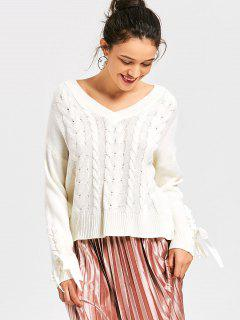 Lace Up Kabel Strick V-Ausschnitt Pullover - Weiß