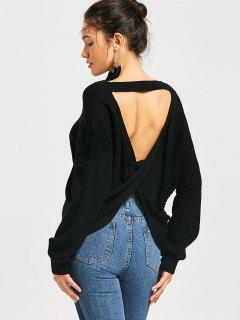 Drop Shoulder Twist Cut Out Sweater - Black