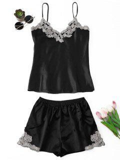 Applique Satin Pajama Set - Black L