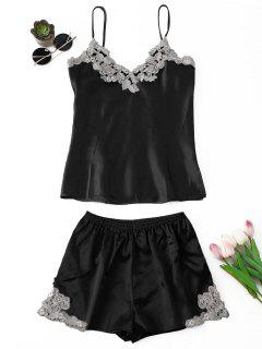 Applique Satin Pajama Set - Black M