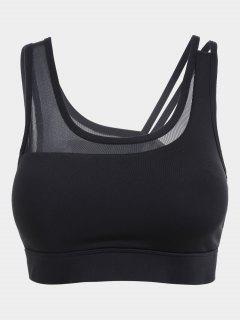 Strappy Mesh Panel Yoga Bra - Black M