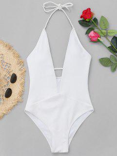Ribbed Plunge Neckline Plaited Swimwear - White L