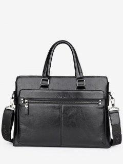 PU Leather Top Handle Handbag - Black