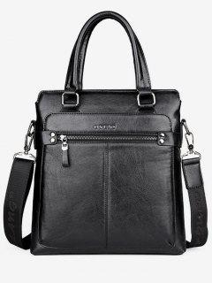 Zip Faux Leather Crossbody Bag With Handle - Black