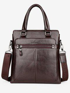 Zip Faux Leather Crossbody Bag With Handle - Brown