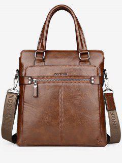 Zip Faux Leather Crossbody Bag With Handle - Khaki