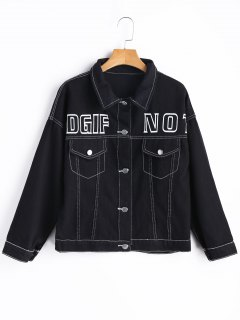 Letter Graphic Denim Jacket - Black S