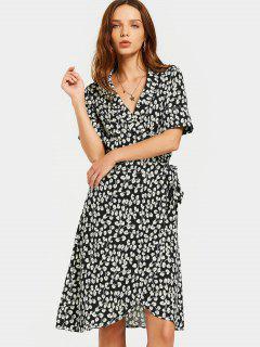 Slit Beach Printed Wrap Dress - Black L