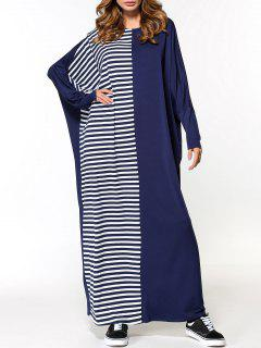 Striped Panel Oversized Maxi Dress - Purplish Blue