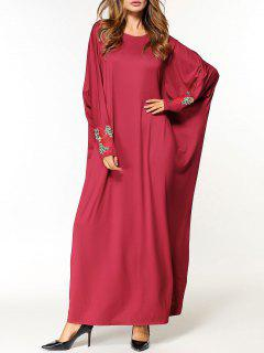 Flower Applique Oversized Maxi Dress - Red