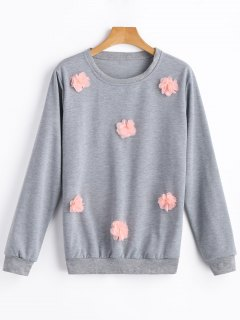 Pullover Floral Applique Sweatshirt - Gray L