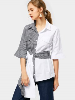 Contrast Asymmetric Striped Belted Shirt - Stripe Xl