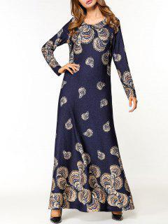Floral Long Sleeve Maxi Dress - Purplish Blue 2xl