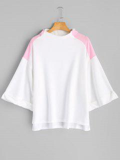 Curled Sleeve Two Tone Sweatshirt - White S